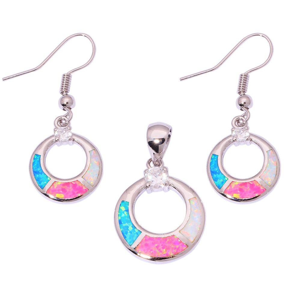 Silver blue pink white fire opal gem pendant earrings for women