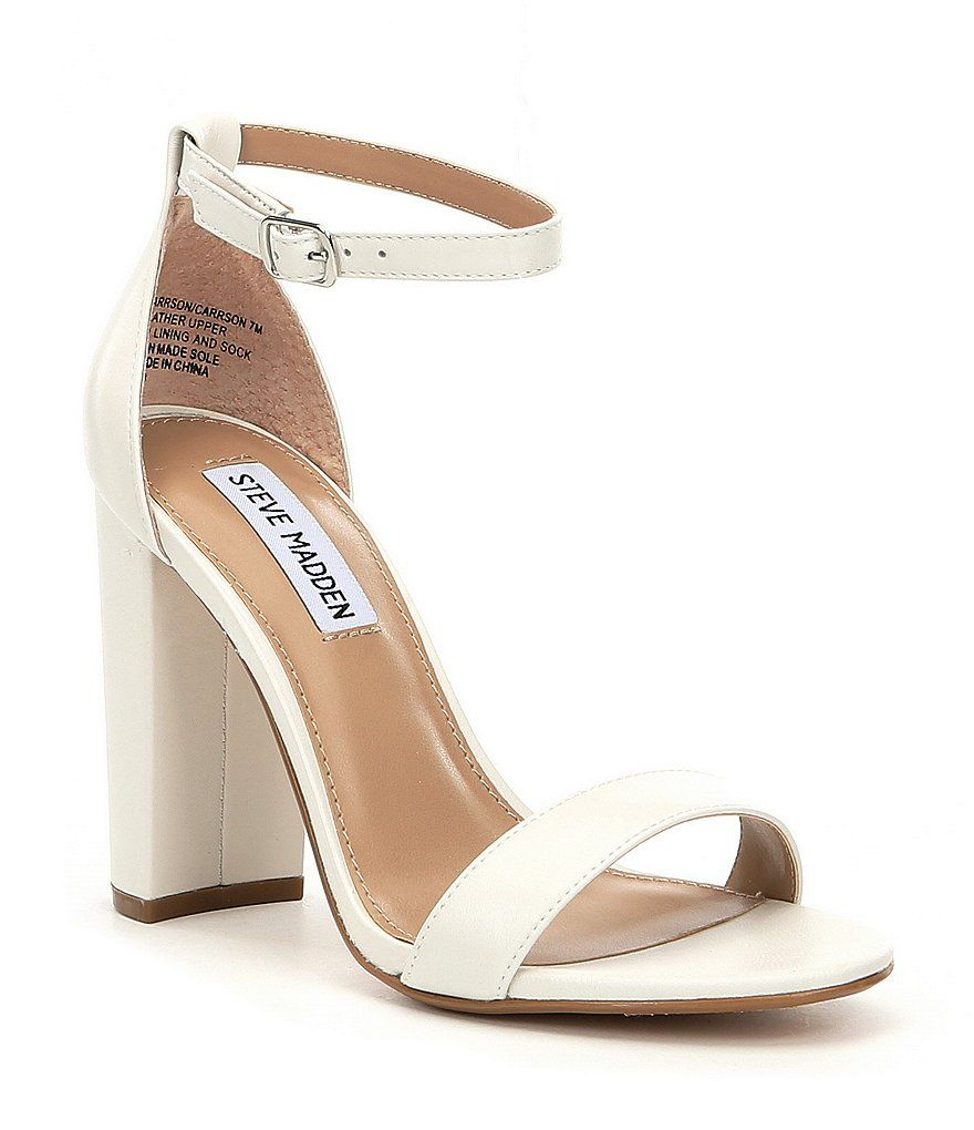 13267a2ab72 Steve Madden Carrson Leather Ankle Strap Block Heel Dress Sandals in ...