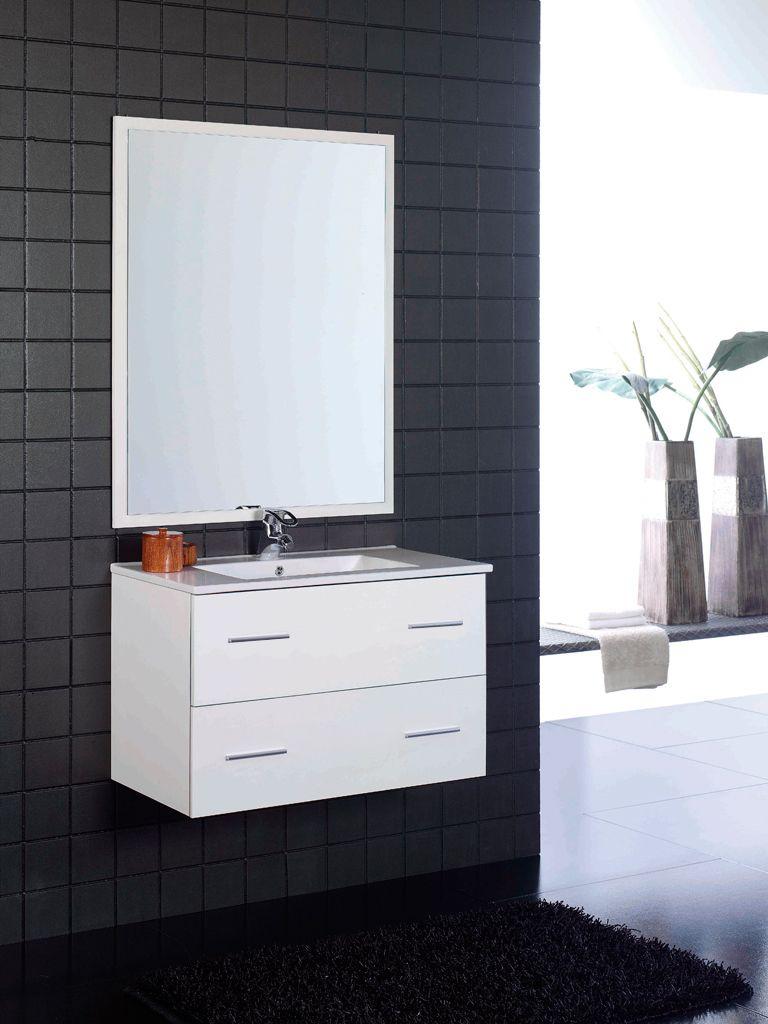 Oferta: Mueble de baño blanco 2 cajones suspendido Incluye lavabo ...