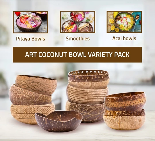 Art Coconut Bowl Variety Pack | Coconut bowl, Coconut ...