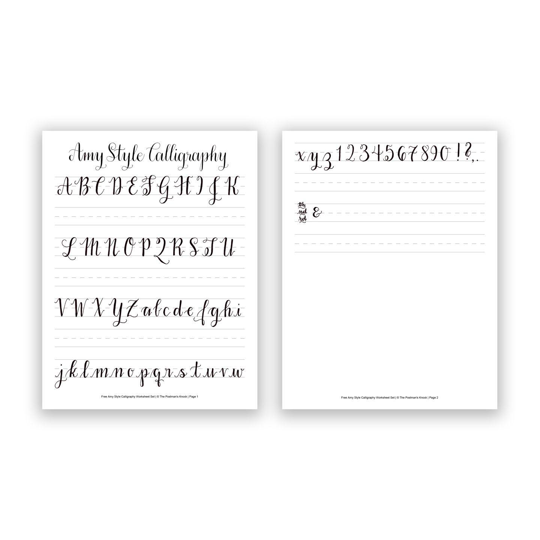 Free Basic Calligraphy Worksheet {Amy Style | Kalligraphie