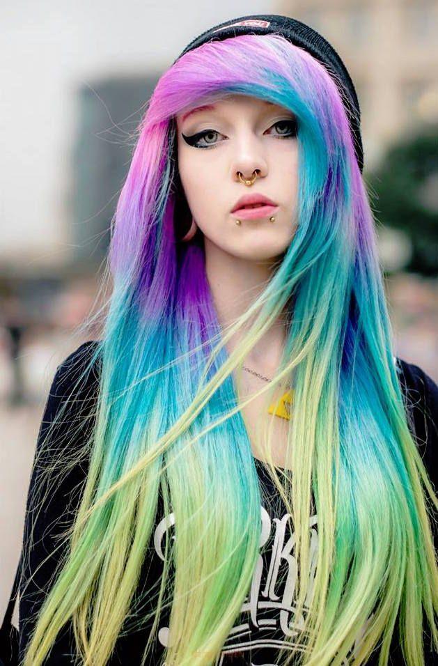 luna lunatic - rainbow hair emo