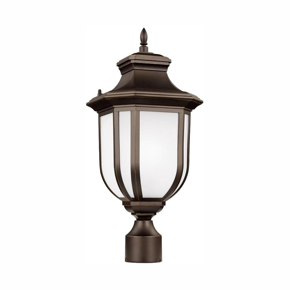 Best Childress 1 Light Outdoor Antique Bronze Post Light With 400 x 300