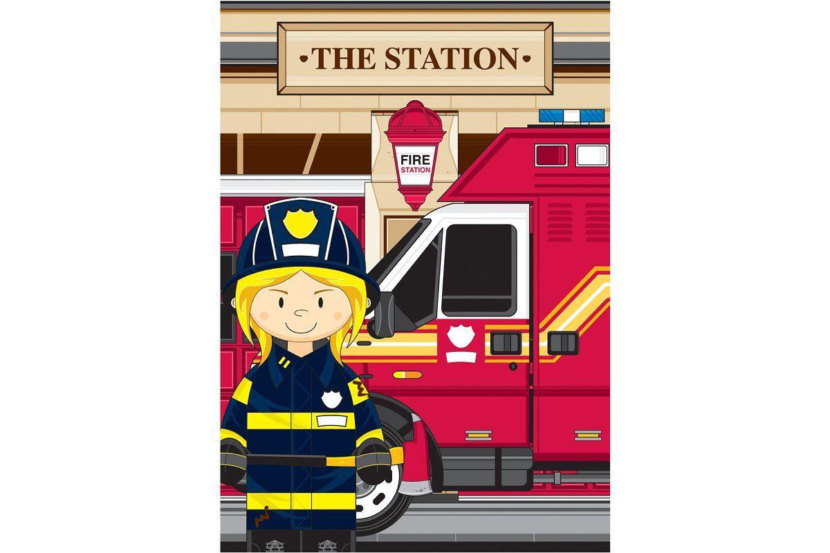 Cute Fireman And Van Fireman Fire Engine Illustration [ 800 x 1200 Pixel ]