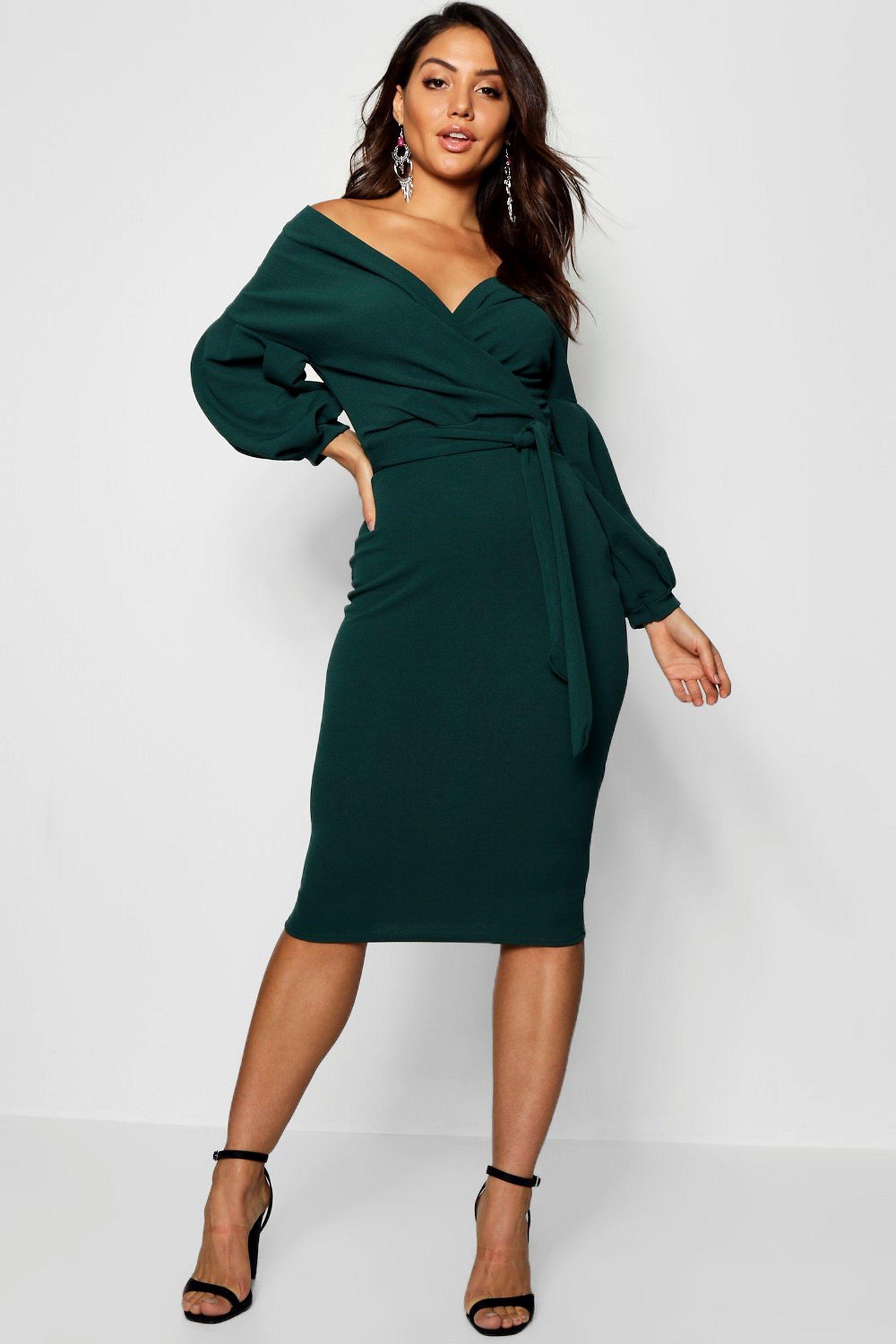 off the shoulder wrap midi dress   boohoo   green midi dress
