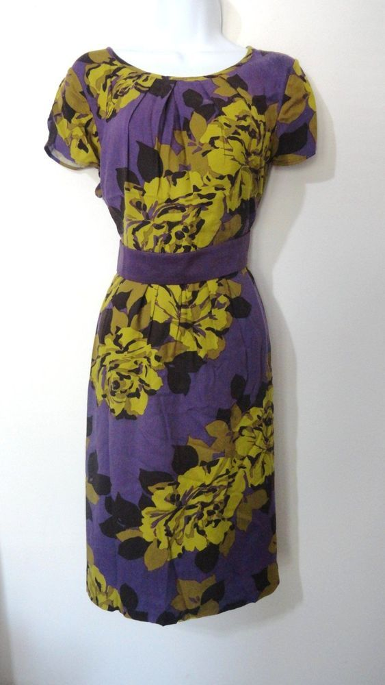 Boden Floral Flower Vintage Dress Career Cocktail Evening Purple 8 Medium M #Boden #Sundress #Cocktail