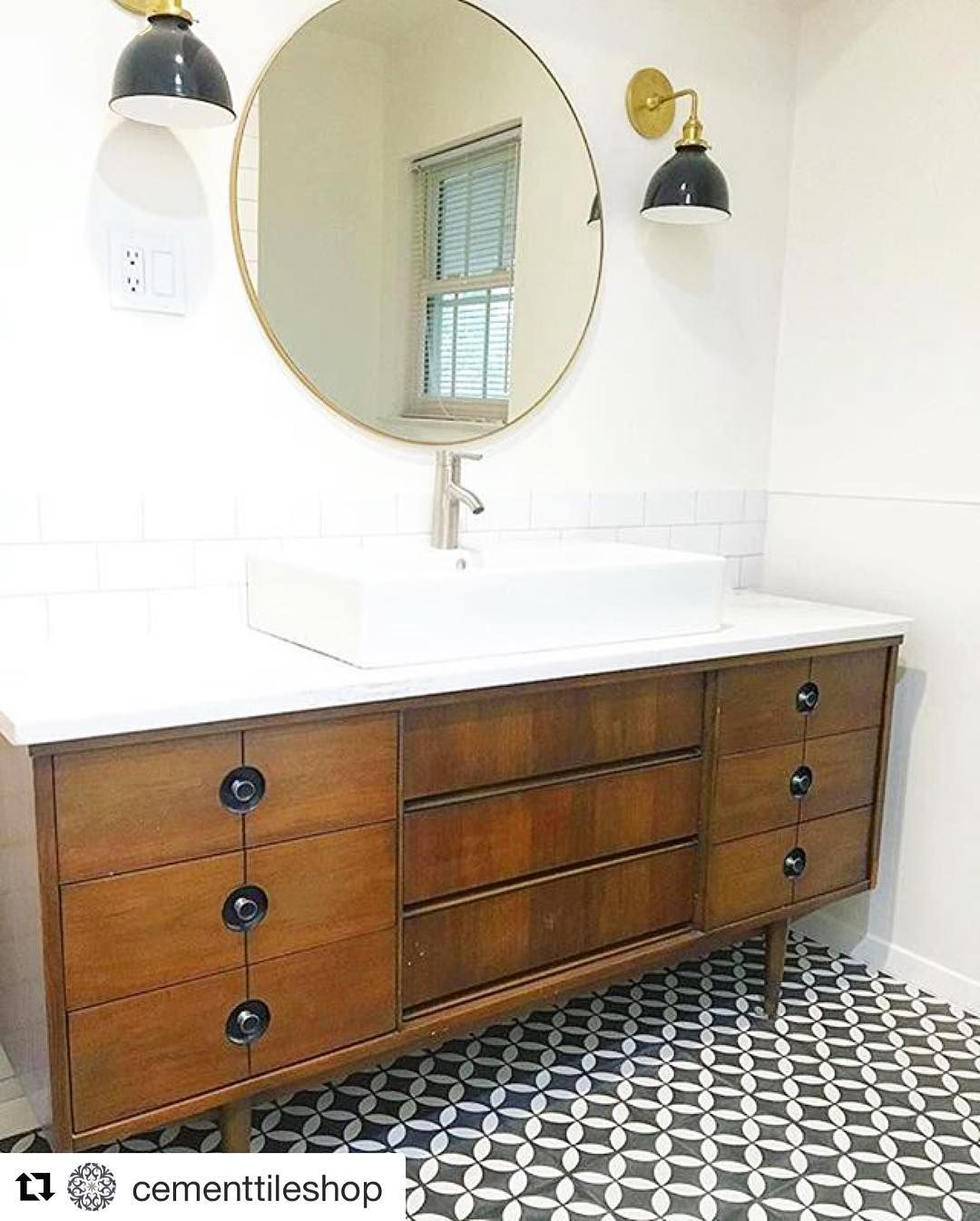 Guest Bathroom Renovation Circulous Cement Tile Mid Century - Bathroom renovation videos