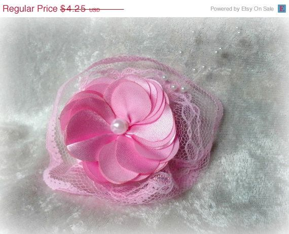 Back to School Sale Pink Lace Flower Clip, Pink Hair Clip, Pink Hair Accessory, Handmade