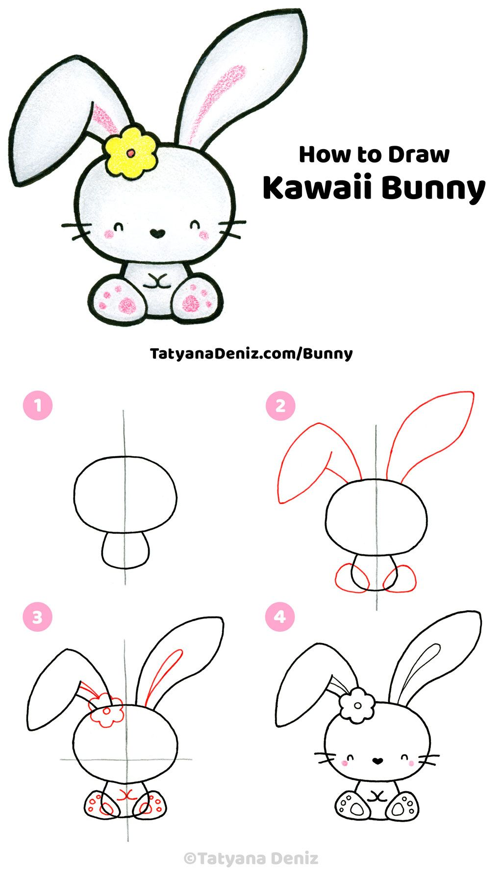 How To Draw A Cute Easter Bunny Step By Step Tutorial