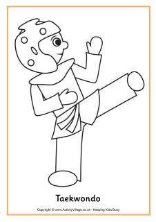 Taekwondo Colouring Page Taekwondo Taekwondo Kids Coloring Pages