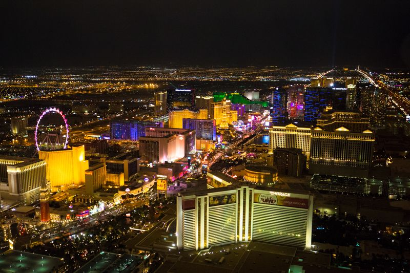 How to get thoroughly pampered on a weekend in Vegas: The Vegas strip seen from a Helicopter.
