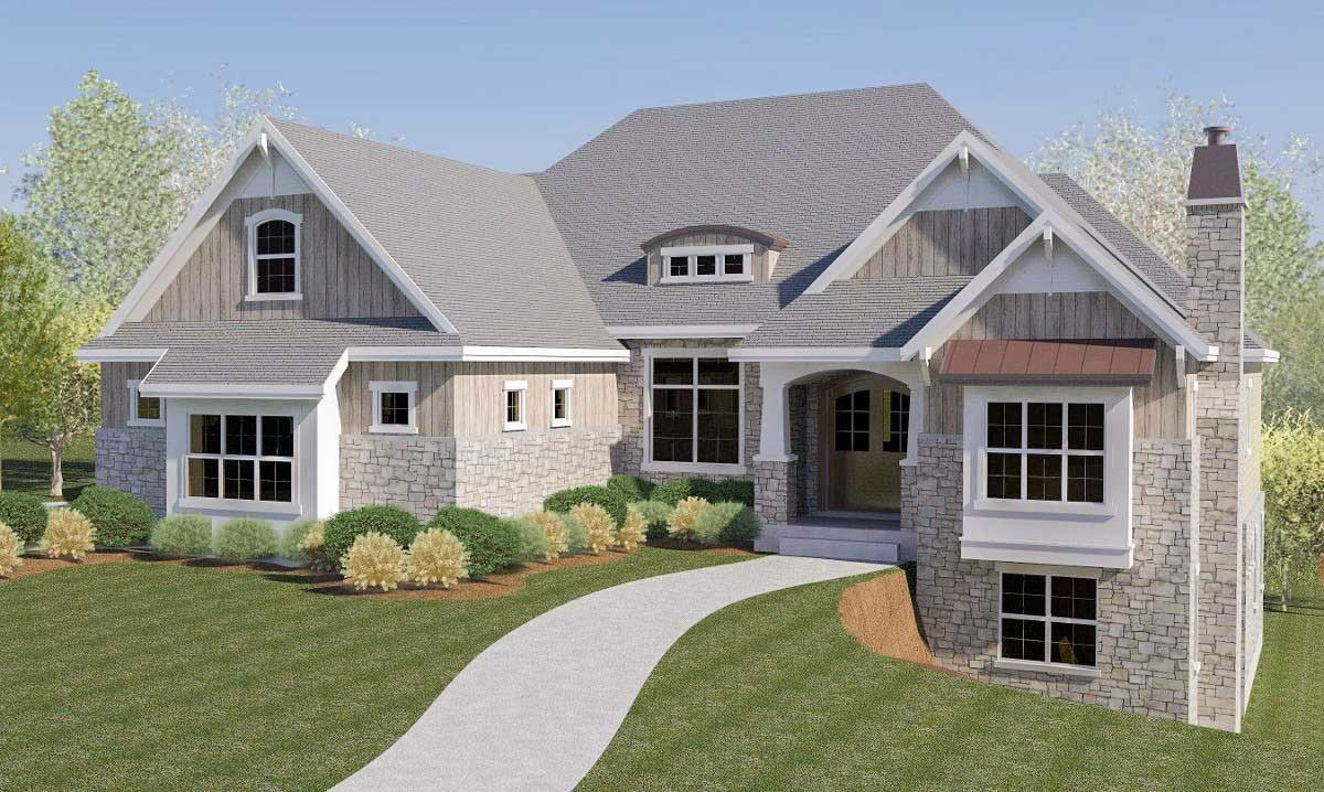 Plan 290032iy Craftsman House Plan With Rv Garage And Walkout Basement Craftsman Style House Plans Craftsman House Plans Basement House Plans