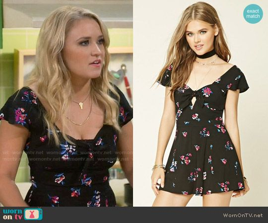 72be11560118 Gabi s black floral romper on Young and Hungry