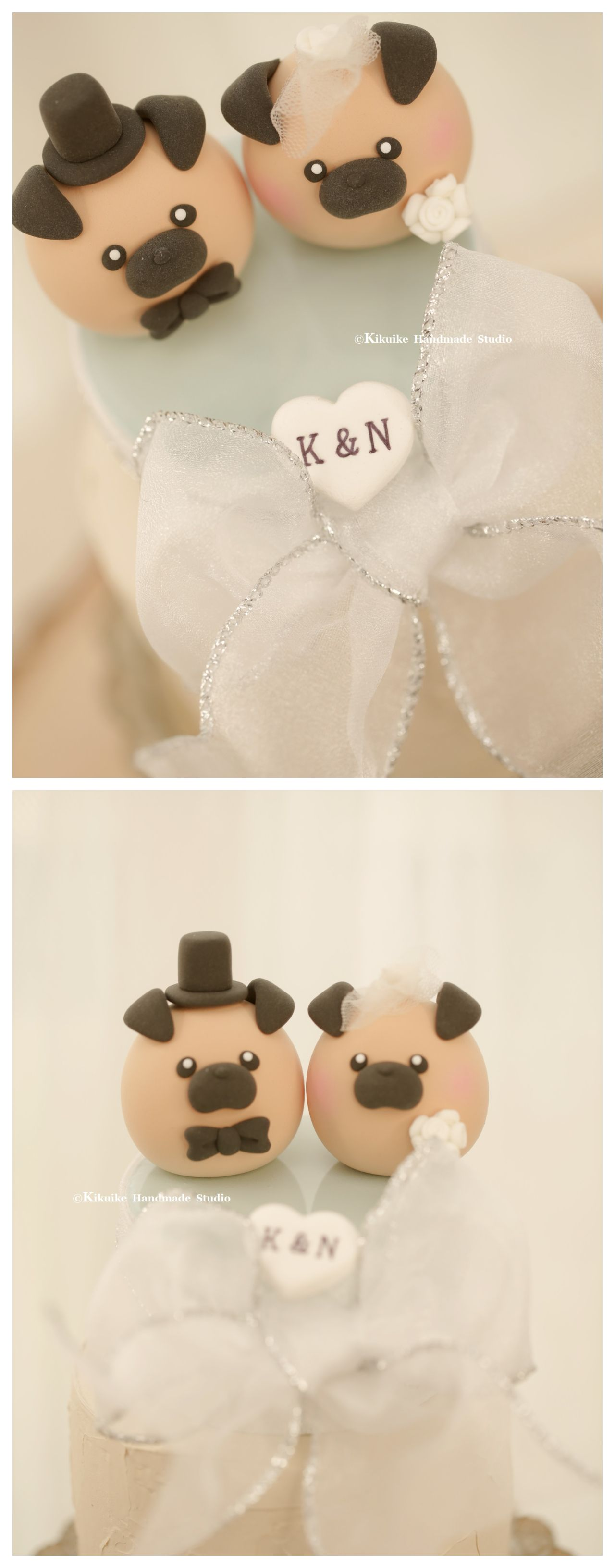 Pug and chiwawa chihuahua wedding cake topper mochiegg cake