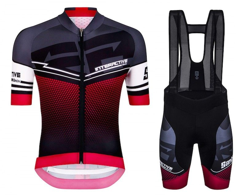 ff3b31920 2016 Santini Interactive 3.0 Black-Red Cycling Jersey And Bib Shorts ...