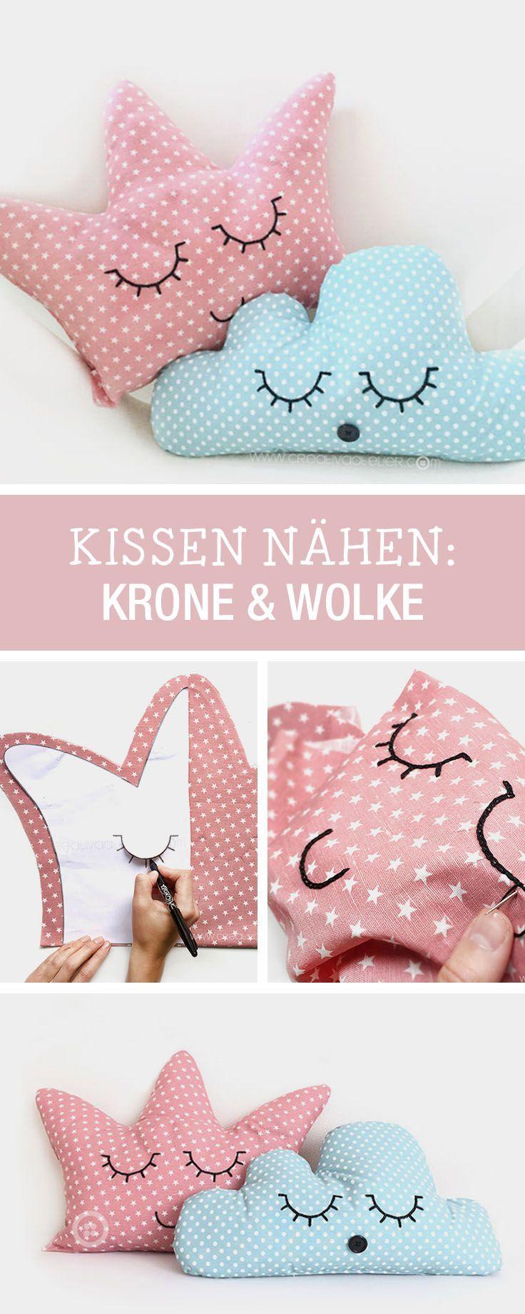 Kinderzimmer deko nähen  DIY-Anleitung: Kissen als Krone und Wolke für kleine Prinzessinnen ...
