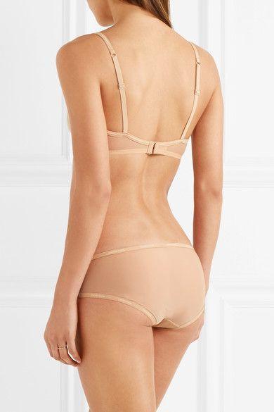d067f160f7 Calvin Klein Underwear - Sheer Marquisette Stretch-mesh Underwired Bra -  Beige