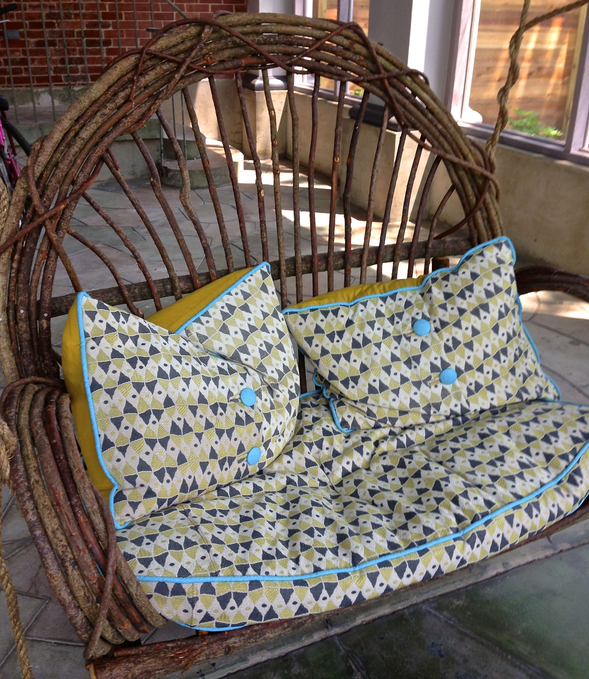 My own porch swing from around the bend willow furniture