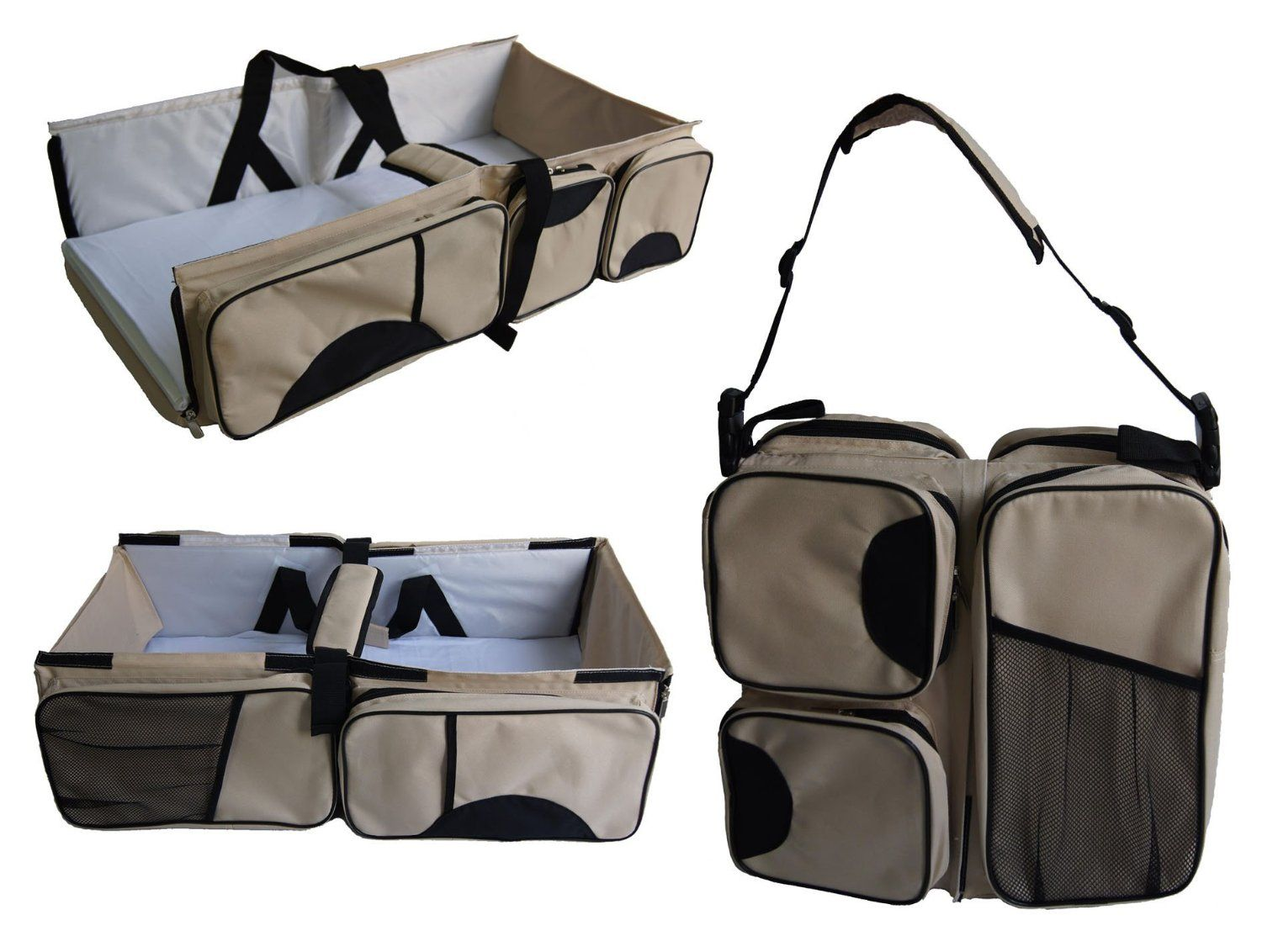 Boxum 3 In 1 Diaper Bag Travel Bassinet Change Station Cream Multi Purpose Baby Tote Bed Ny Infant Carrycot Crib Cot Nursery