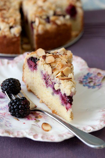 Blackberry Sour Cream Coffee Cake | Tide and Thyme - not a huge fan of blackberries (their taste isn't bold enough for me), but baked will concentrate their sugars. I bet this is delish!