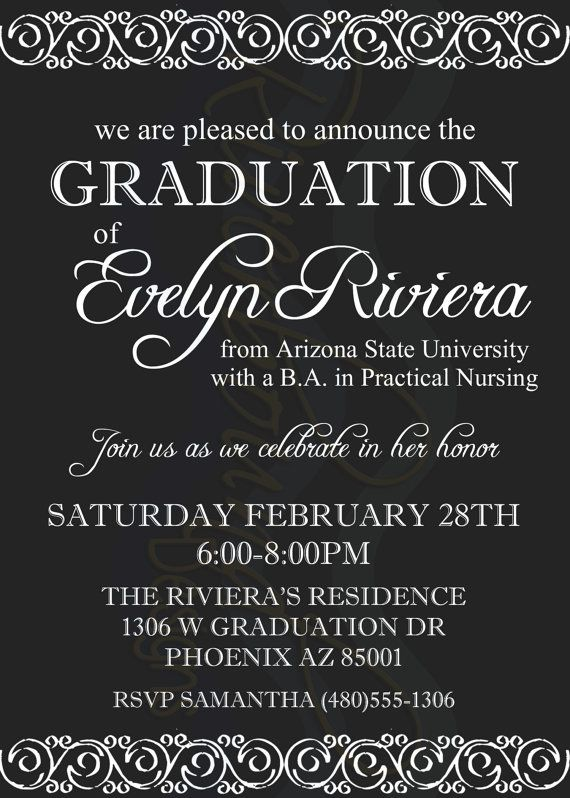 Printable Elegant Graduation Announcement By RiverMamasDesigns