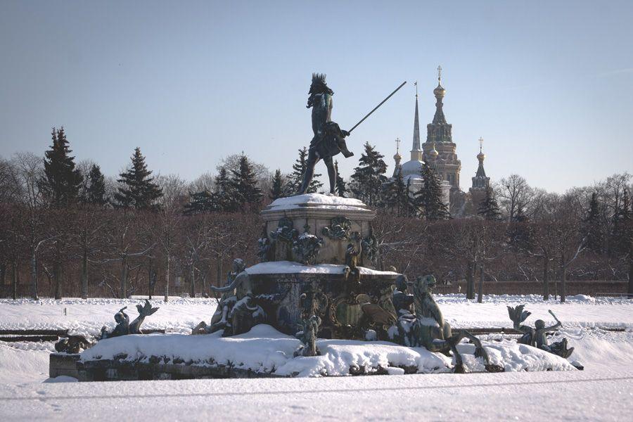 """San Petersburgo en invierno es hermoso y lleno de gente no. Es increíble que usted camina por el parque, y al lado de casi cualquier hombre. El paseo resultó hermoso. La mayoría de las fuentes y estatuas del palacio están """"vestidos"""" en ropa de invierno - clavado en una apariencia de madera. Sólo la estatua de Sansón con orgullo brilla el oro en la nieve blanca. Se ve raro y fascinante."""