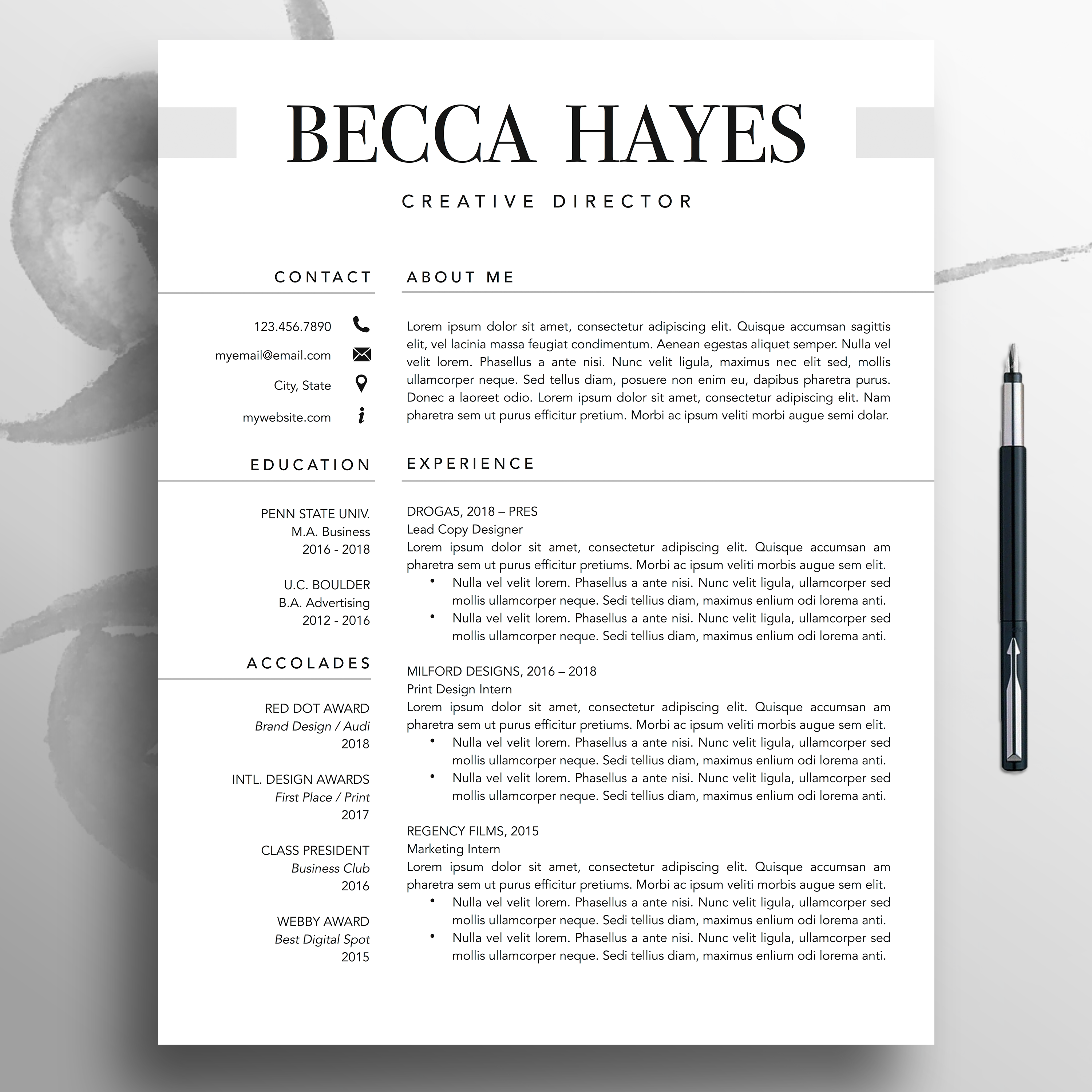 Professional Resume Cv Template 1 3 Page Modern Resume Template