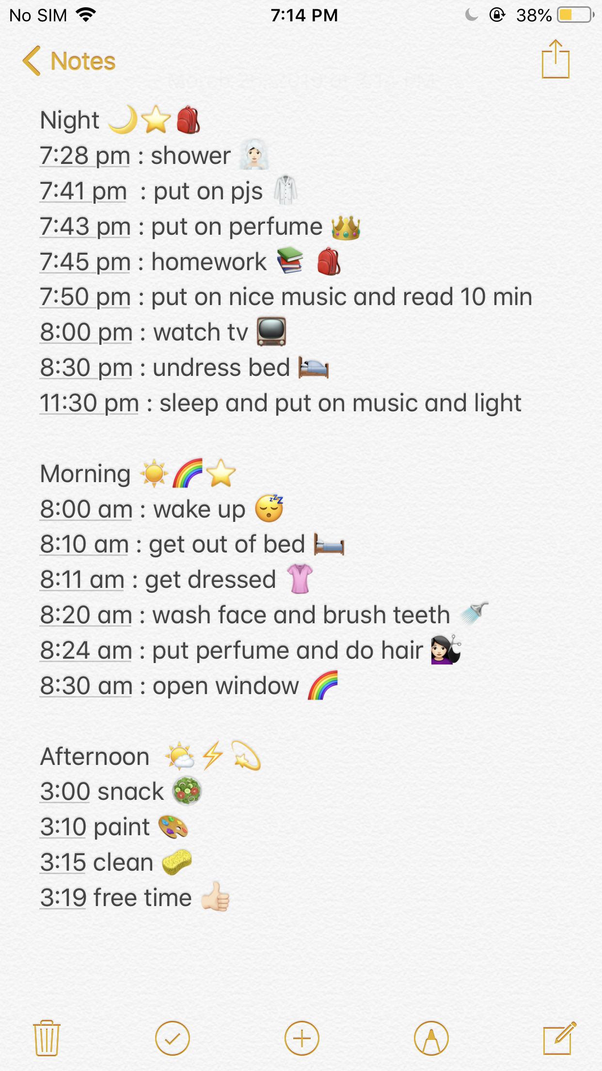 Night Morning And Afternoon Routine
