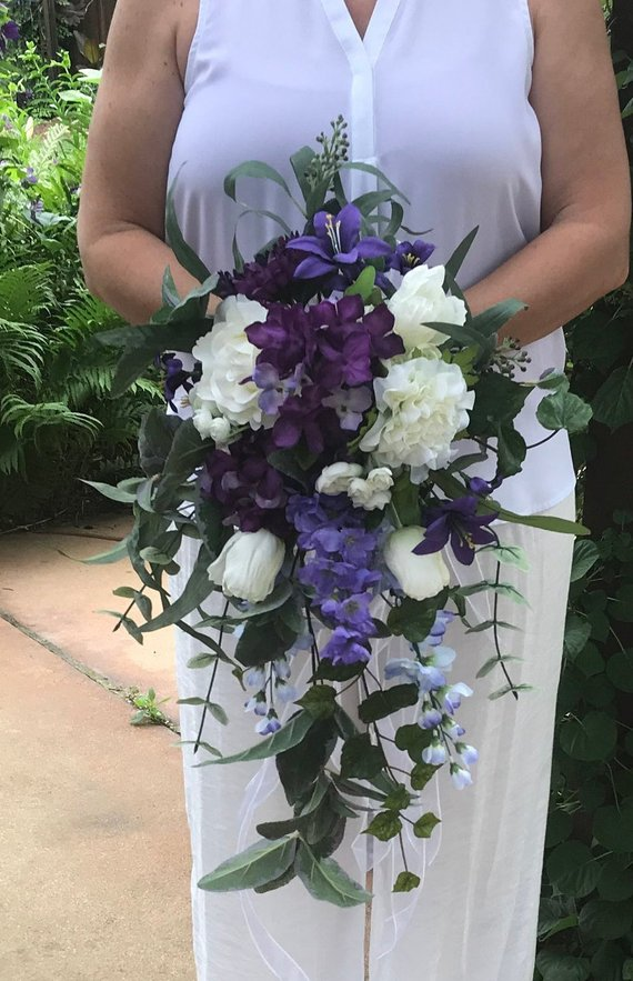 Romantic Purple Cascading Bridal Bouquet Cascading Purple Silk