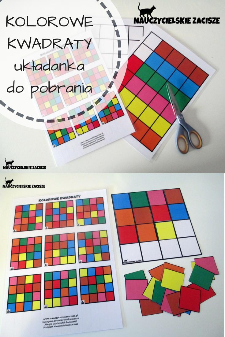 Nauczycielskie Zacisze Kolorowe Kwadraty Ukladanka Do Pobrania Za Darmo Colorfu Math Activities Preschool Preschool Learning Activities Preschool Activities