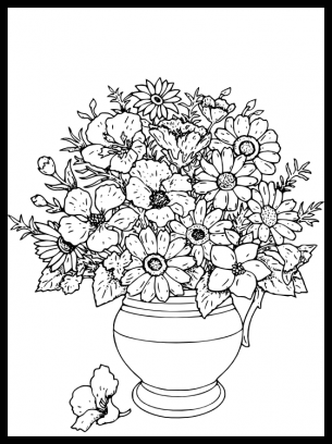 Colouring Pictures Of Flower Pots Printable Flower Coloring Pages Flower Coloring Pages Butterfly Coloring Page