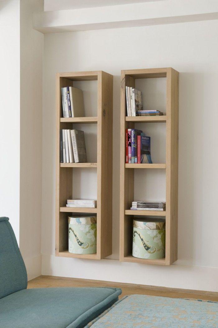 Zwevende boekenkast met open vakken - Inrichting | Pinterest - Kast ...