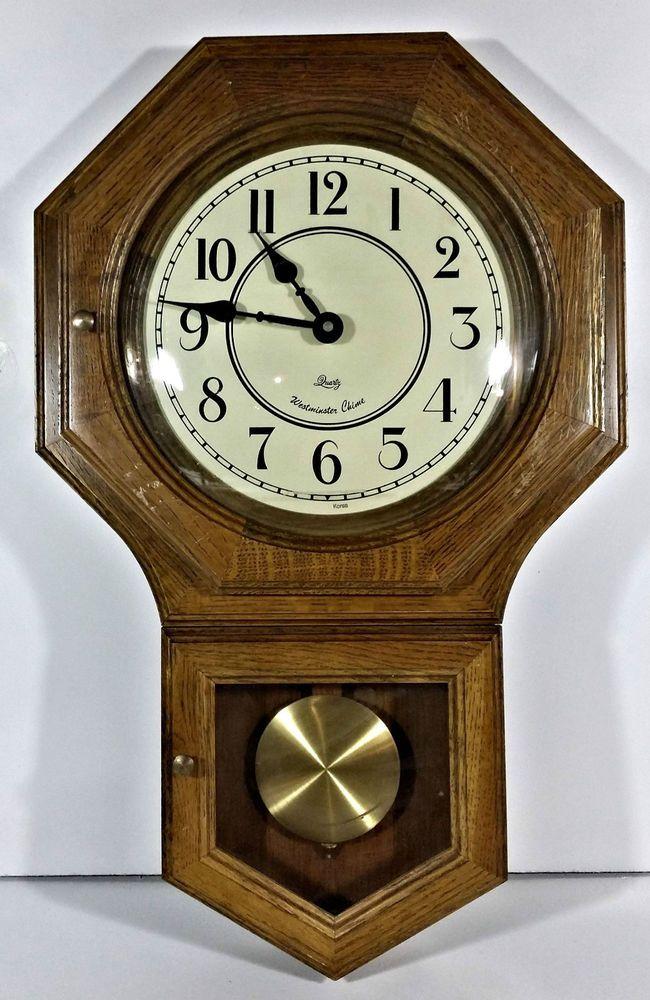 Quartz Westminster Chime Wall Clock Schoolhouse Oak Regulator Ebay