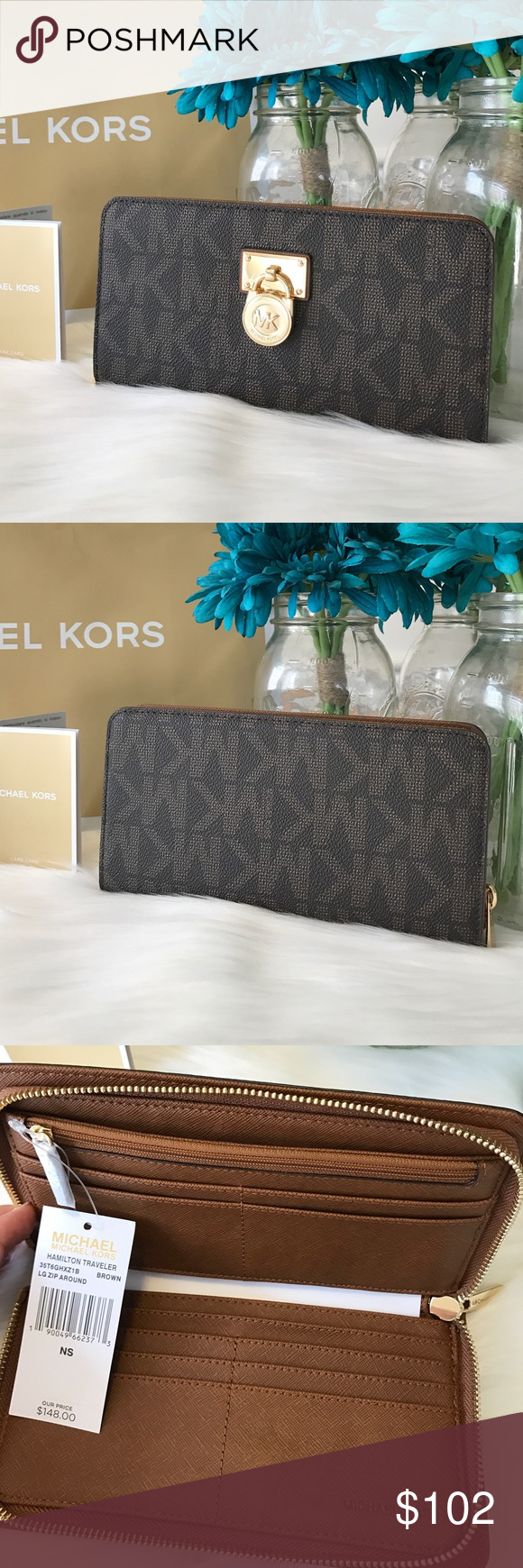 """🆕 Michael Kors Wallet Hamilton Large Zip Around Brand New 100% Authentic  MK Michael Kors Hamilton Traveler Wallet Large Zip Around brown/ Luggage  Made of logo MK PVC with leather trim and LOCK detail on front Style:35T6GHXZ1B ✨Retail price $148  ✨Zip around for closure ✨Inside features 12 credit card slots. ✨3 full length bill compartments ✨Full leather & Signature fabric lining ✨Gold hardware ✨Dimensions :8.10""""(L) x 4.35""""(H) x 1""""(D)  Check out my closet Cuala❤️◡̈ MICHAEL Michael Kors…"""