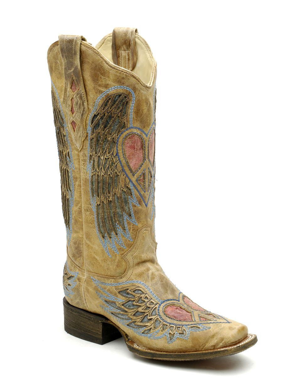 Corral Boots, square toe. Note peace symbol within heart, on toe & shaft.