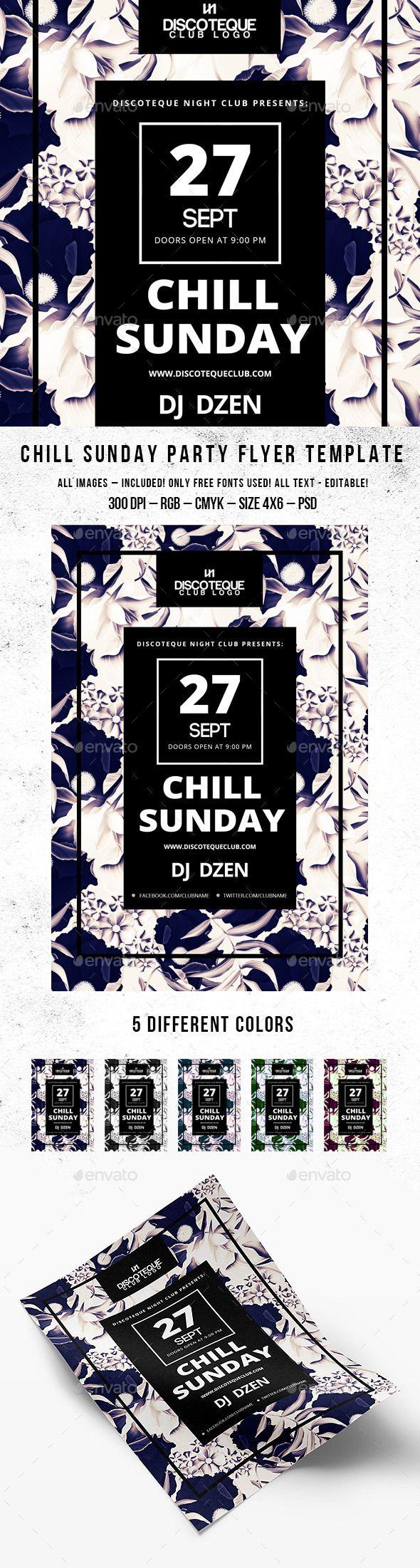 Chill Sunday Party Flyer | Cartelitos, Diseño grafico publicitario y ...