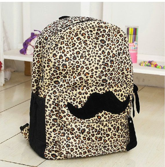 Leopard Mustache Girly Cute Bookbag | Kaukolè | Pinterest ...
