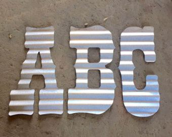 12 inch corrugated tin letters letters A-Z by Rustaroundtheedges
