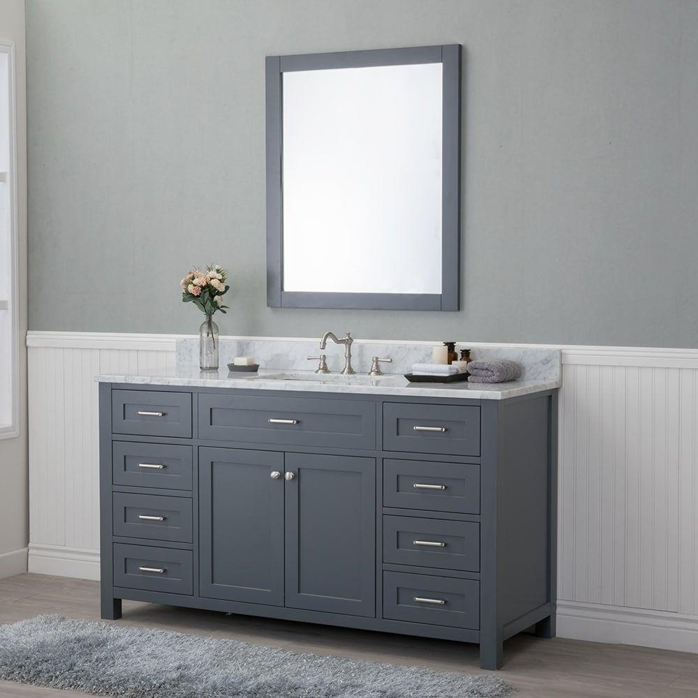 Alya Bath Norwalk Grey 60 Inch Single Bathroom Vanity With Carrera Marble Top 60w X 22 D 34 2 H Size Vanities