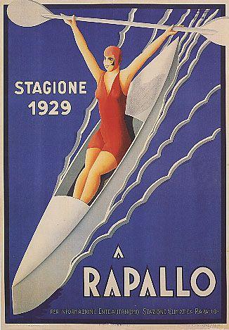 "ITALY RAPALLO GENOA ""Stagione 1929"" TRAVEL EUROPE VINTAGE BEACH POSTER Art Deco by Filippo Romoli #riviera #essenzadiriviera www.varaldocosmetica.it"