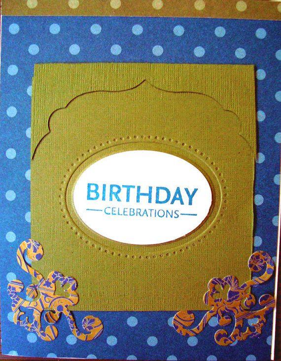 Happy Birthday Blue Khaki Masculine card handmade by Wcards, $3.00