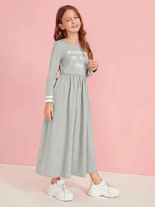 Girls Slogan Graphic Striped Cuff Flare Dress