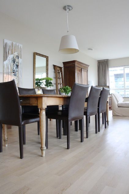Eclectic Combination Modern Leather Chairs With Rustic Dining Table