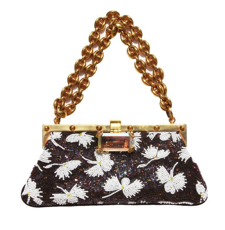 9af21b4fb14 Tom Ford for Gucci Collectible Fully Beaded Chocolate White Clutch  Minaudiere