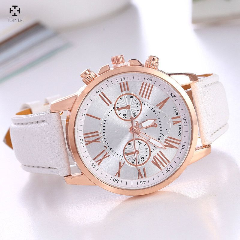 9e7503175d8 Tentador Relógio Das Mulheres de Quartzo Moda Relógios Homens De Esportes  de Couro Casual Vestido Relógio