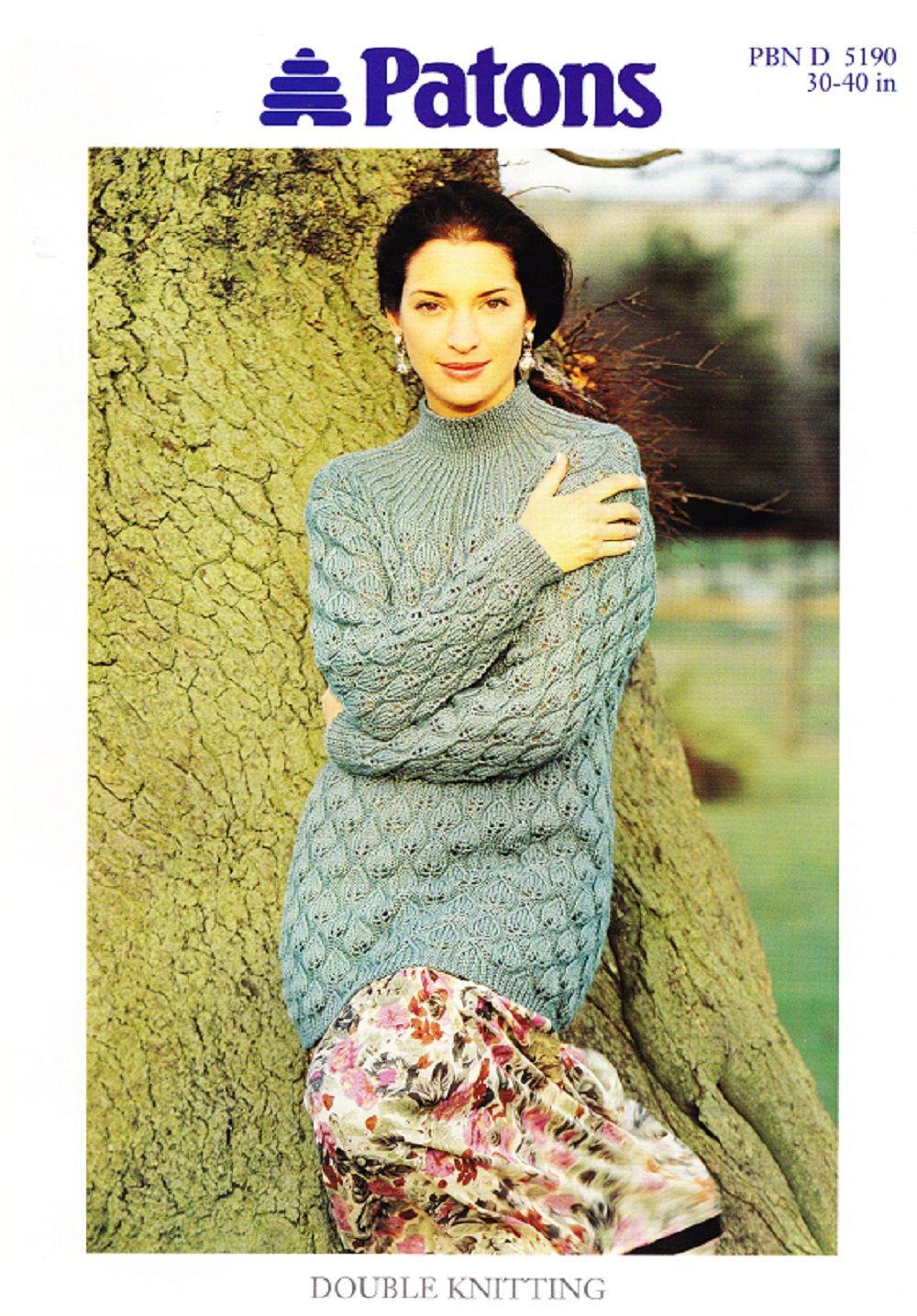Patons Knitting Pattern 5190, DK, Lady\'s Leaf Stitch Tunic, Sizes 76 ...