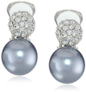 Kenneth Jay Lane Crystal Top With Pearl Bottom Earrings Crystal/white pearl 6XlzXTT