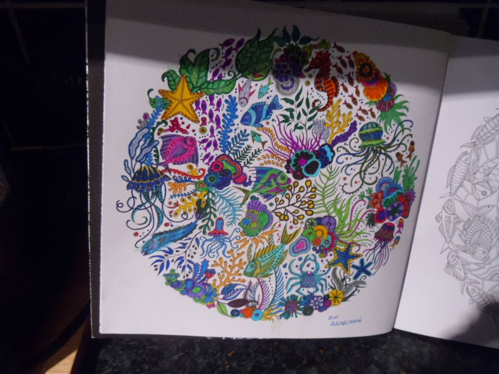 Anti stress colouring book asda - Book Lost Ocean Artist Johanna Basford Media Asda Stabilo Staedtler Fine