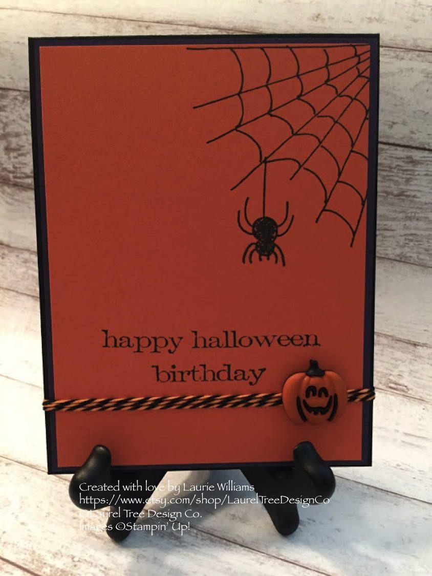 Halloween card halloween birthday handmade greeting card halloween card halloween birthday handmade greeting card pumpkin card spider web kristyandbryce Images