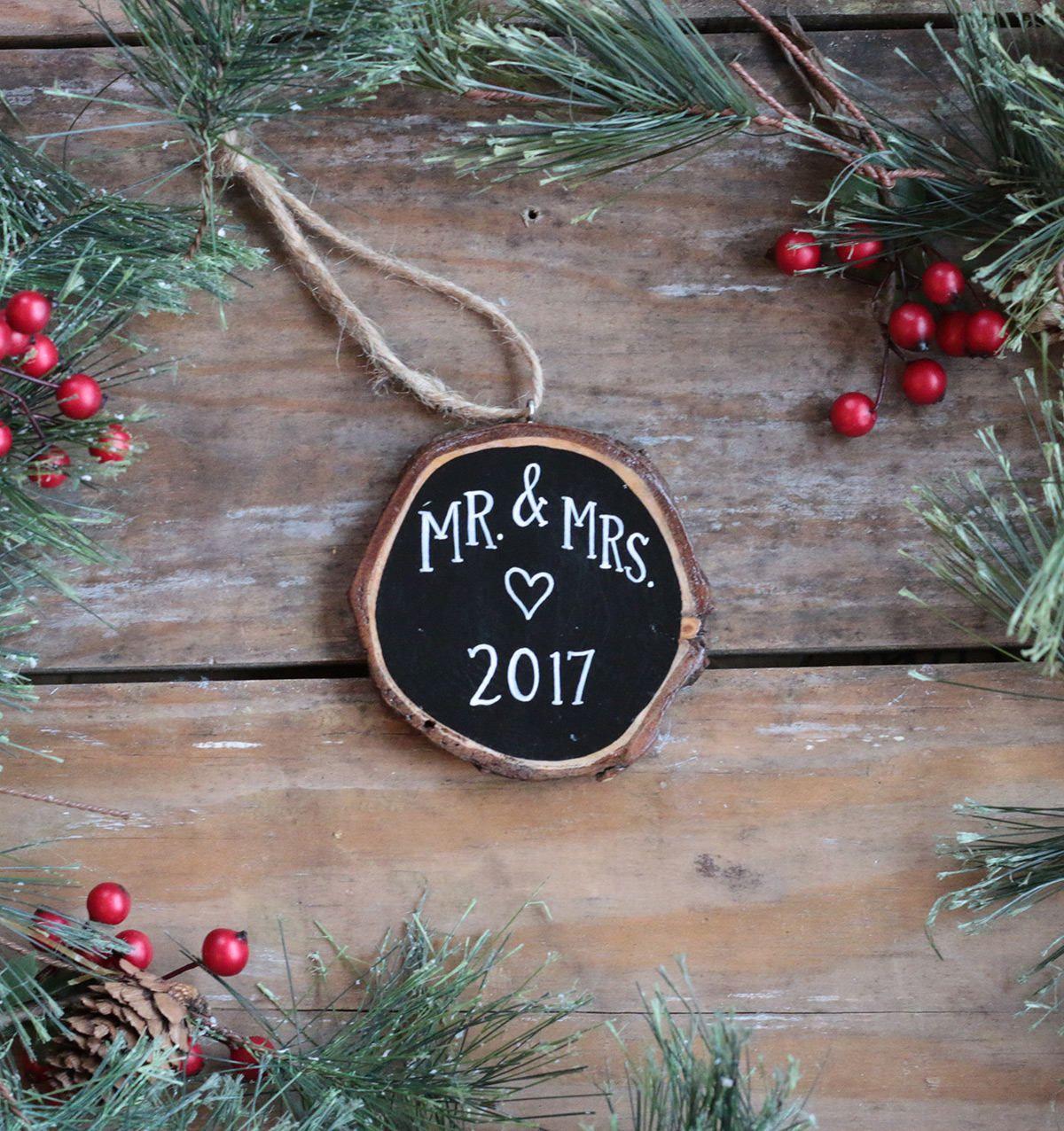 Engaged Christmas Ornament Wood Slice Ornament Christmas Ornament Personalized Wedding couple gift